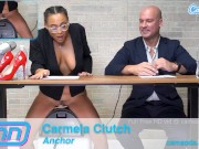 Latina TV Reporter gets horny on set and sucks dicking after riding sybian