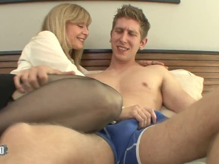 Old bitch with big boobs fucked by a hot young man