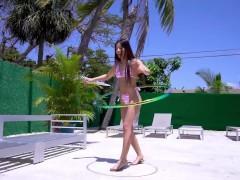 YNGR - Petite Latina Enjoys Hula Hooping And Riding Dicks