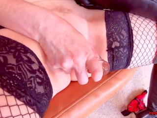 Big titty matures RedXXX & Lucy Gresty play with their dildos together