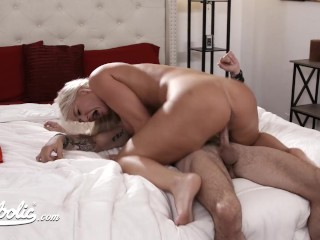 Blonde With Huge Boobs Rides A Big Cock