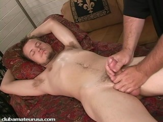 Dallas' cock becomes rock-hard and quite thick as I probe his prostate