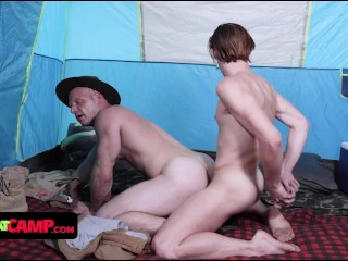 Handsome Young Twink Gets Into His Scout Masters Tent And Stuffs His Throbbing Cock Deep In His Butt