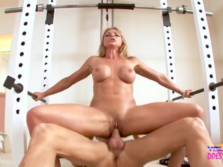 Milf Gets Fit and Fucks Her Personal Trainer in Gym