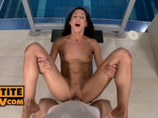 POV sex in the gym with black haired shaved hottie Alexa Thomas