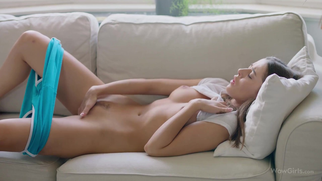 WOWGIRLS One of the most beautiful models Sybil playing with her pussy on the couch