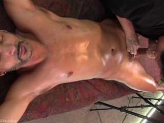 I squeezed off his ejaculation to just a pool of precum that leaked out onto his abdomen when I laid his softening cock down