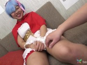 Couch casting for Japanese girl in her 1st time on adult video - pussy fingering and cunnilingus