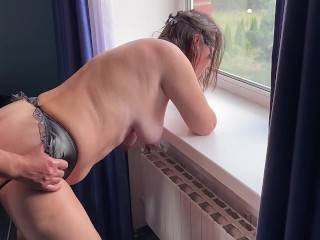 Anal sex by the apartment window with fisting. The wife moaned and screamed from anal sex. Orgasm!!!