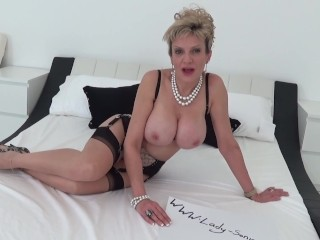 'Busty British MILF Lady Sonia plays with her toy while you wank'
